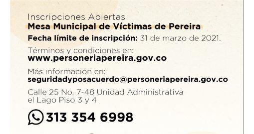 Inscripción Mesa Municipal de Víctimas